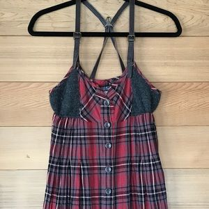 Free People Red Plaid/Charcoal Wool Dress, Size 6